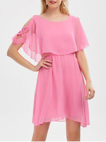Outfit Ruffle Overlay Chiffon Cold Shoulder Dress