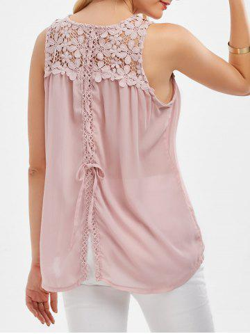 Affordable Lace Up Floral Lace Panel Tank Top PINK S