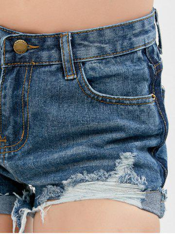 Outfits High Waist Denim Distressed Shorts - L BLUE Mobile