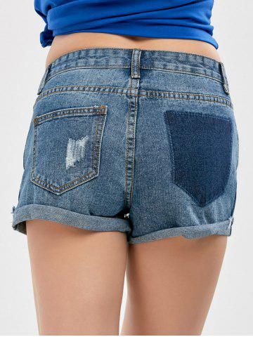 Chic High Waist Denim Distressed Shorts - L BLUE Mobile