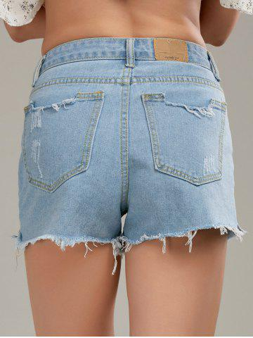Best Raw Cut Denim Distressed Shorts - M LIGHT BLUE Mobile