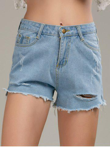 Outfits Raw Cut Denim Distressed Shorts - M LIGHT BLUE Mobile