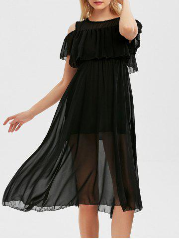 Fashion High Waist Flounce Cold Shoulder Dress - 2XL BLACK Mobile