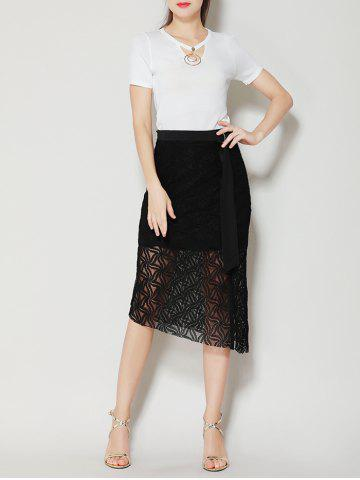 Hot Asymmetrical Slit Lace Skirt with Long Tail - S BLACK Mobile