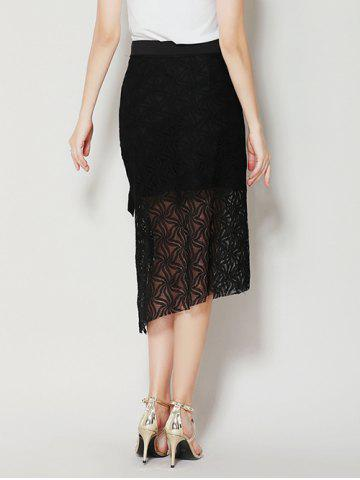 Hot Asymmetrical Slit Lace Skirt with Long Tail - M BLACK Mobile
