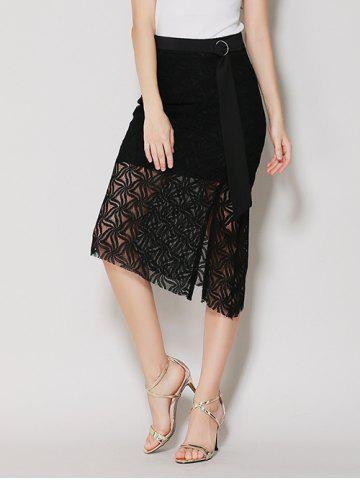 New Asymmetrical Slit Lace Skirt with Long Tail - M BLACK Mobile