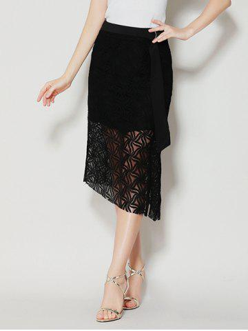 Trendy Asymmetrical Slit Lace Skirt with Long Tail - M BLACK Mobile