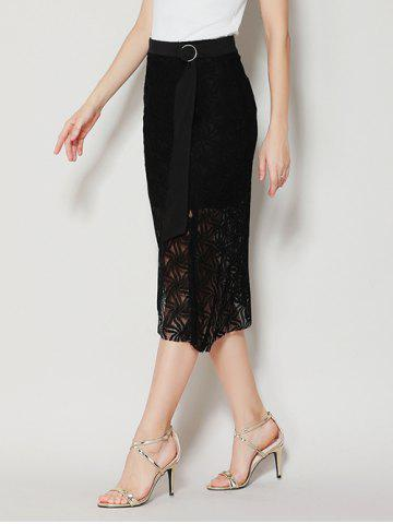 Buy Asymmetrical Slit Lace Skirt with Long Tail - M BLACK Mobile