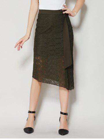 Fancy Asymmetrical Slit Lace Skirt with Long Tail - S BLACK GREEN Mobile