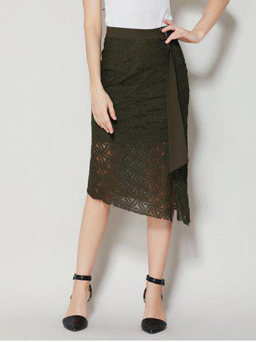 Affordable Asymmetrical Slit Lace Skirt with Long Tail - S BLACK GREEN Mobile