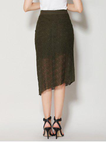 Shop Asymmetrical Slit Lace Skirt with Long Tail - S BLACK GREEN Mobile