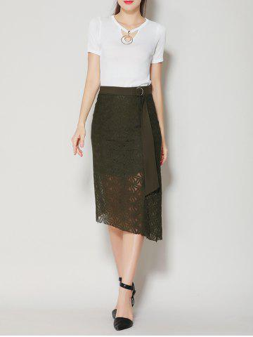 Unique Asymmetrical Slit Lace Skirt with Long Tail - S BLACK GREEN Mobile