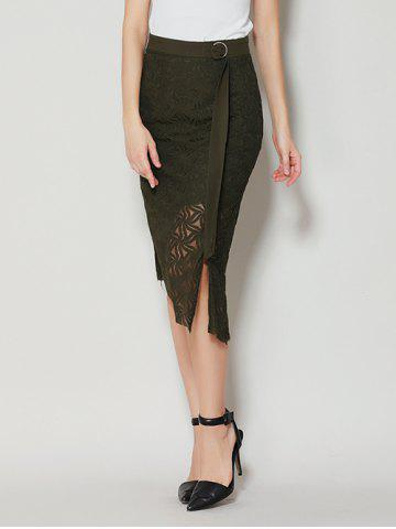 Store Asymmetrical Slit Lace Skirt with Long Tail - S BLACK GREEN Mobile