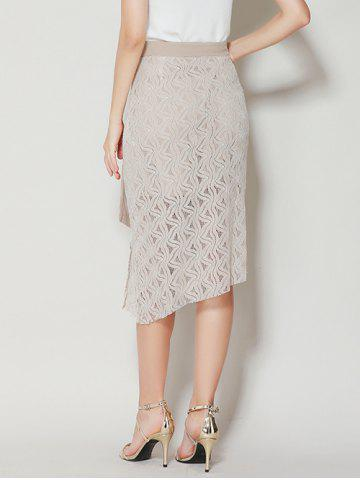 Fancy Asymmetrical Slit Lace Skirt with Long Tail - XL APRICOT Mobile
