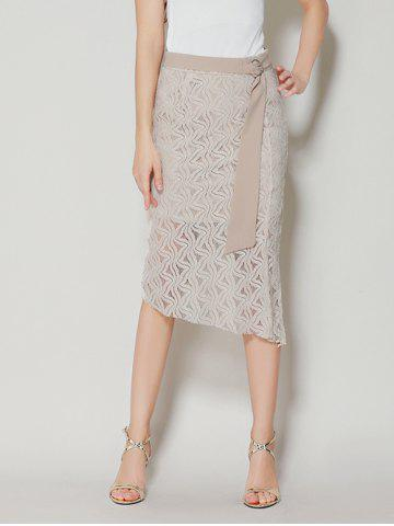 Fancy Asymmetrical Slit Lace Skirt with Long Tail - L APRICOT Mobile