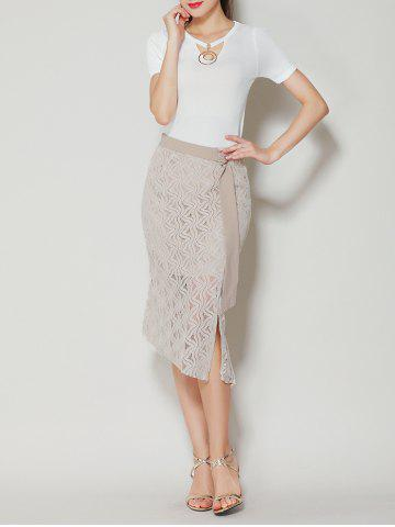 Shop Asymmetrical Slit Lace Skirt with Long Tail - L APRICOT Mobile
