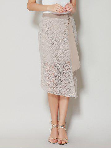 Affordable Asymmetrical Slit Lace Skirt with Long Tail - L APRICOT Mobile