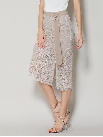 Fancy Asymmetrical Slit Lace Skirt with Long Tail - S APRICOT Mobile