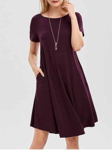 Outfit Short Sleeve Pockets Short Casual Swing Dress CONCORD S