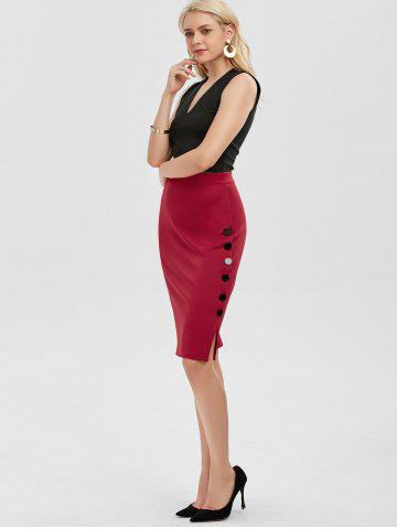 Trendy High Waisted Bodycon Button Design Skirt - ONE SIZE RED Mobile