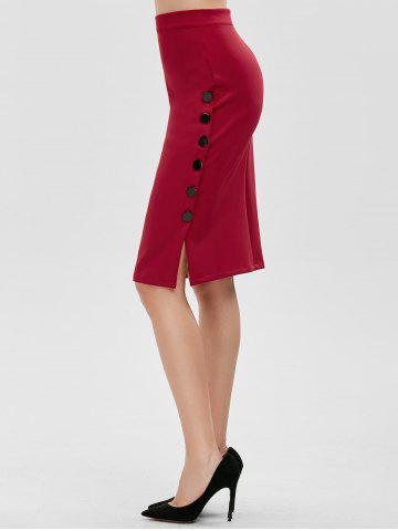 Shops High Waisted Bodycon Button Design Skirt - ONE SIZE RED Mobile