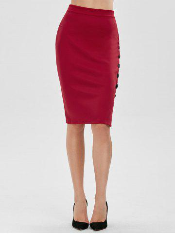 Outfits High Waisted Bodycon Button Design Skirt - ONE SIZE RED Mobile