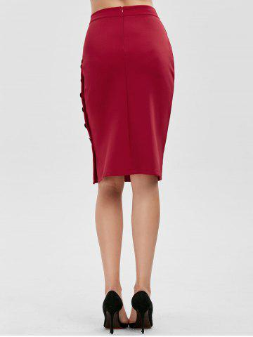 New High Waisted Bodycon Button Design Skirt - ONE SIZE RED Mobile