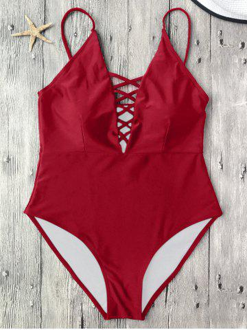 Discount Cami Lace-Up Strappy Padded One-Piece Bathing Suit RED XL