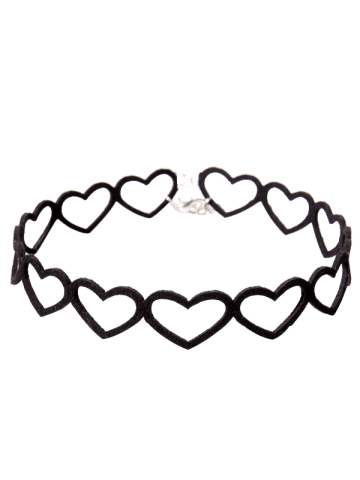 Vintage Embellished Heart Choker Necklace - Black