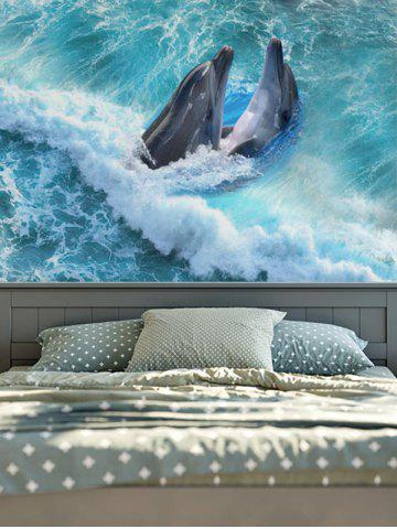Fancy Wall Hangings Brushed Fabric Dolphins Print Tapestry - W59 INCH * L59 INCH BLUE Mobile