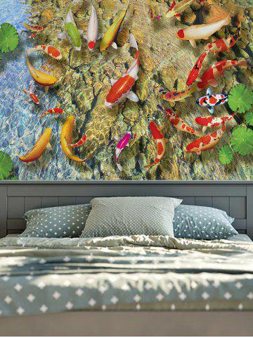 Best Wall Hangings Goldfish Lotus Leaf Print Tapestry YELLOW W59INCH*L79INCH