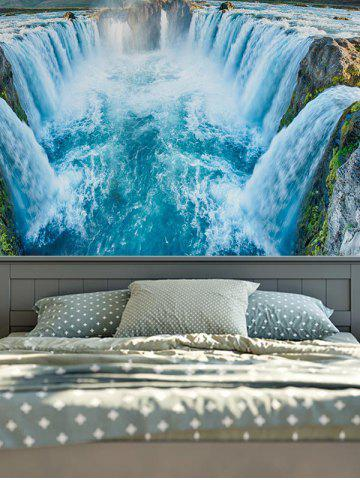 Hot Wall Hangings Brushed Fabric Waterfall Print Tapestry - W51 INCH * L59 INCH LAKE BLUE Mobile