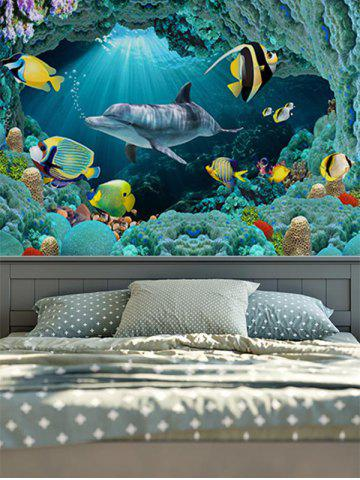 Outfits Wall Hangings Brushed Fabric Sea World Dolphin Tapestry - W51 INCH * L59 INCH BLUE Mobile