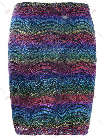 New Graphic Lace Tight Skirt - M COLORMIX Mobile