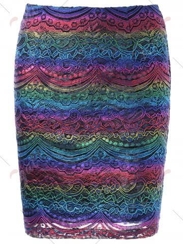 Latest Graphic Lace Tight Skirt - M COLORMIX Mobile