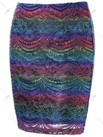 Fashion Graphic Lace Tight Skirt - XL COLORMIX Mobile