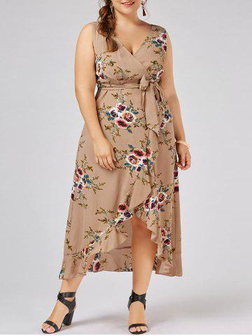 Sale Plus Size Overlap Flounced Tiny Floral Dress APRICOT 5XL