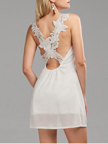 Hot Lace Panel Backless Dress - L WHITE Mobile