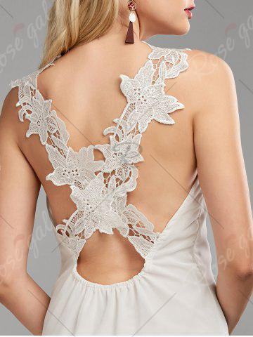 Trendy Lace Panel Backless Dress - L WHITE Mobile