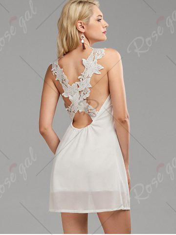 Fancy Lace Panel Backless Dress - L WHITE Mobile