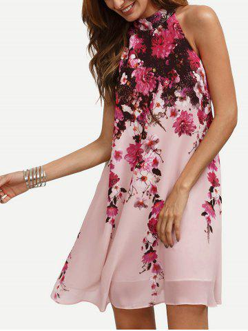 Online Bohemian Floral Print Mini Swing Dress
