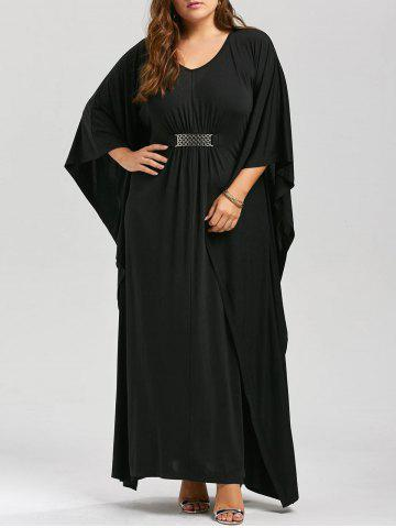 Sale Plus Size Kaftan Maxi Dress - 3XL BLACK Mobile