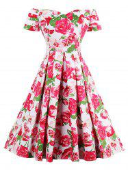 High Waist Off Shoulder Rose Vintage Dress