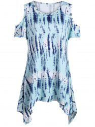 Plus Size Tie Dye Cold Shoulder Tunic Top