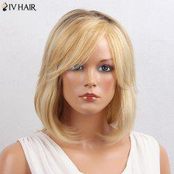 Siv Hair Inclined Bang Colormix Short Straight Bob Human Hair Wig - COLORMIX