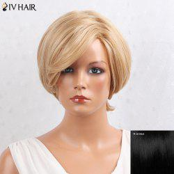 Siv Hair Layered Inclined Bang Short Straight Human Hair Wig - Jet Black