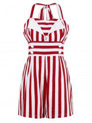 Stripe Empire Waist Halter Romper with Button