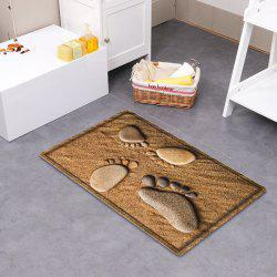 Beach Stone Footprint Pattern Water Absorbing Bathroom Mat