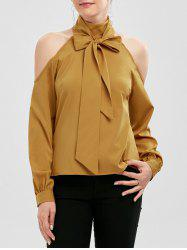Cold Shoulder Bow Neck Chiffon Top