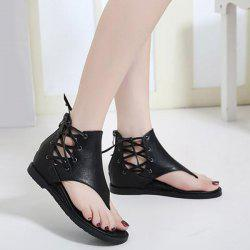 Lace Up Wedge Heel Zipper Sandals -